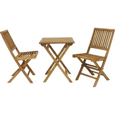 Nantasket 3-Piece Teak Folding Outdoor Bistro Set (2 Chairs and 1 Table)