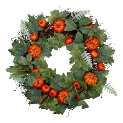 24 in. Unlit Autumn Harvest Maple and Fern Leaves With Pumpkins Grapevine Artificial Wreath