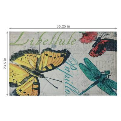 Multicolor Butterfly 23 in. x 35 in. Kitchen Floor Mat