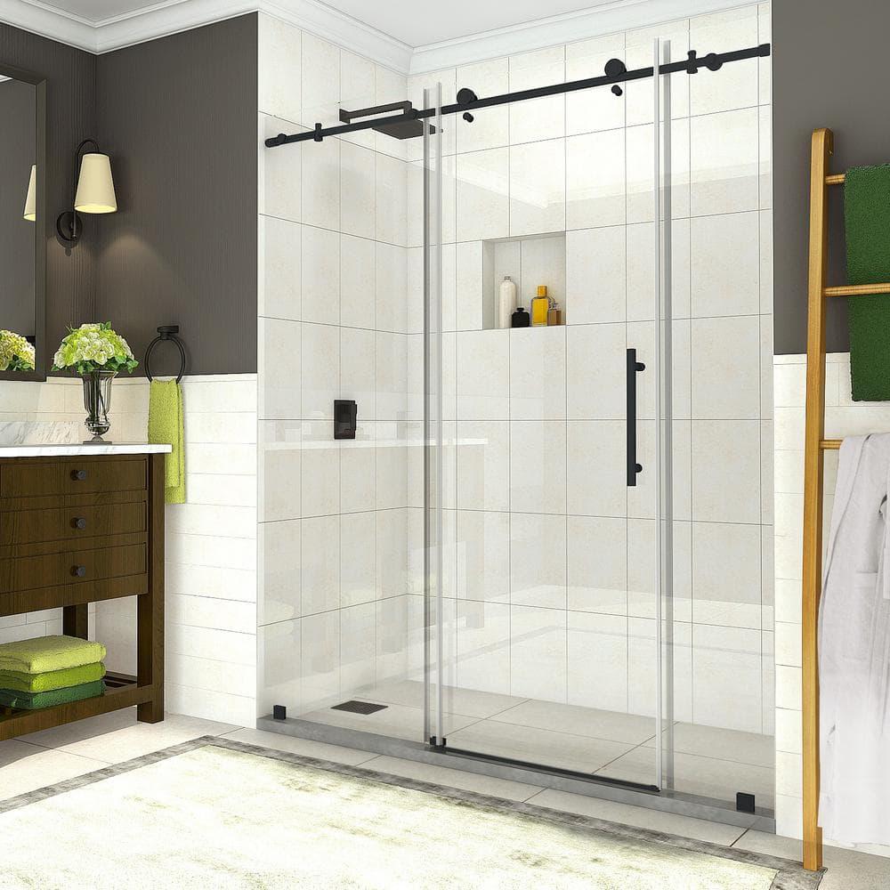 Aston Coraline 68 In To 72 In X 76 In Frameless Sliding Shower Door In Matte Black Sdr984ez Mb 72 10 The Home Depot