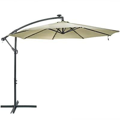 10 ft. Steel Cantilever Solar Patio Umbrella in Beige