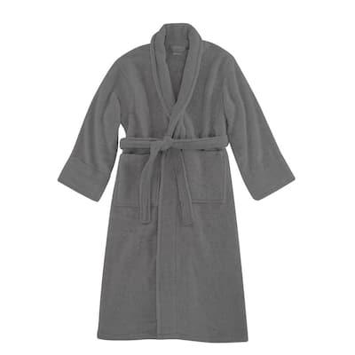 Opulent Cuddle Unisex Gray 100% Cotton Robe Super Soft