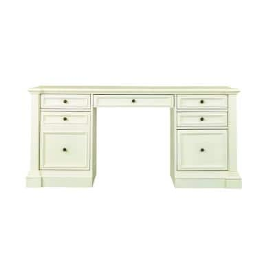 65 in. Rectangular Rubbed Ivory 5 Drawer Executive Desks with Storage