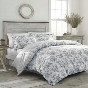 Annalise 2-Piece Gray Floral Cotton Twin Comforter Set