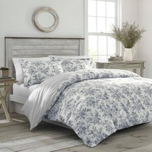 Annalise 3-Piece Gray Floral Cotton King Comforter Set