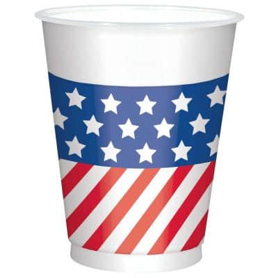 4.5 in. Patriotic Printed Plastic Cups 16 Oz. (25-Count, 2-Pack)