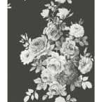 Tea Rose Black And White Floral Paper Pre-Pasted Strippable Wallpaper Roll (Covers 56 Sq. Ft.)