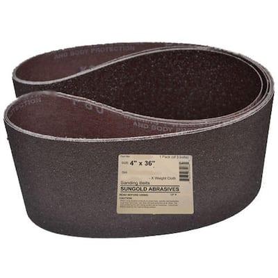 4 in. x 36 in. 220-Grit Premium Industrial X-Weight Aluminum Oxide-Grit Sanding Belt (3-Pack)