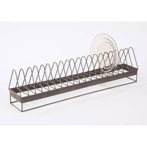 Brown Metal Elongated Storage Dish Rack