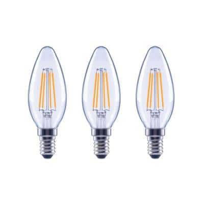 40-Watt Equivalent B11 Dimmable ENERGY STAR Clear Glass Filament Vintage Edison LED Light Bulb in Bright White (3-Pack)