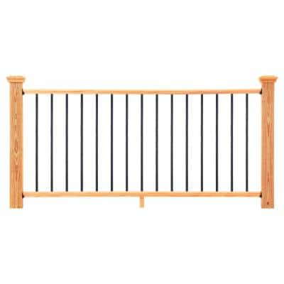 6 ft. Cedar-Tone Southern Yellow Pine Moulded Rail Kit with Aluminum Square Balusters