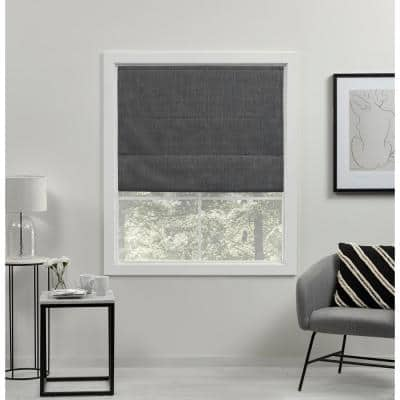 Acadia Grey Cordless Total Blackout Roman Shade 31 in. W x 64 in. L
