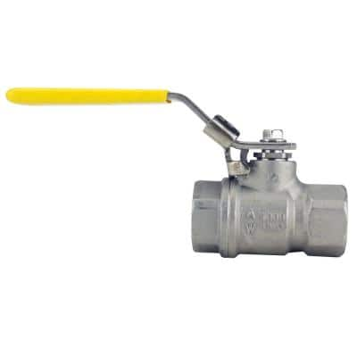 1/2 in. Stainless Steel FNPT x FNPT Full-Port Ball Valve with Latch Lock Lever