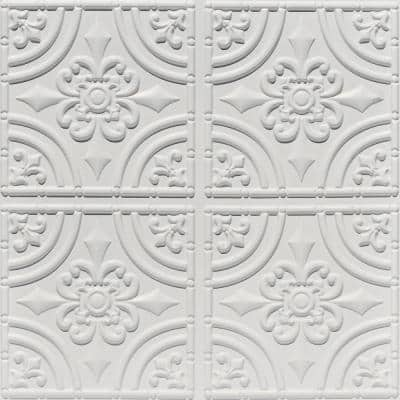 Wrought Iron 2 ft. x 2 ft. Glue Up PVC Ceiling Tile in White Matte