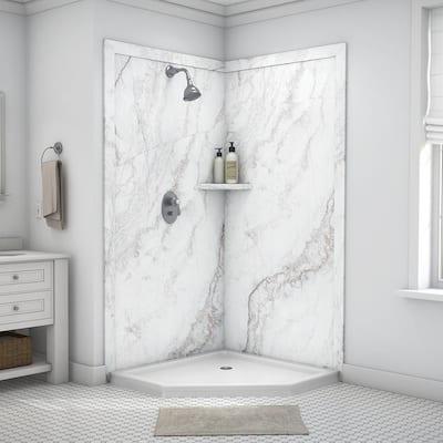 Splendor 40 in. x 40 in. x 80 in. 7-Piece Easy Up Adhesive Corner Shower Wall Surround in Calypso