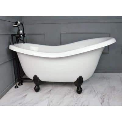 67 in. AcraStone Acrylic Slipper Clawfoot Non-Whirlpool Bathtubin White with Large Ball, Claw Feet Faucet in Old Bronze
