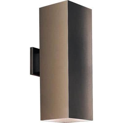 """Square Collection 6"""" Antique Bronze Aluminum Outdoor Up/Down Wall Lantern Light"""