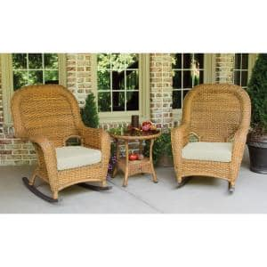 Sea Pines Mojave 3-Piece Wicker Outdoor Rocking Chair Set with Sunbrella Canvas Canvas