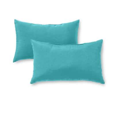 Solid Teal Lumbar Outdoor Throw Pillow (2-Pack)