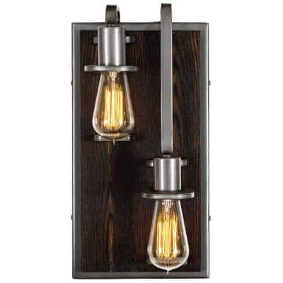 Lofty 2-Light - Right - Steel with Zebrawood Wall Sconce