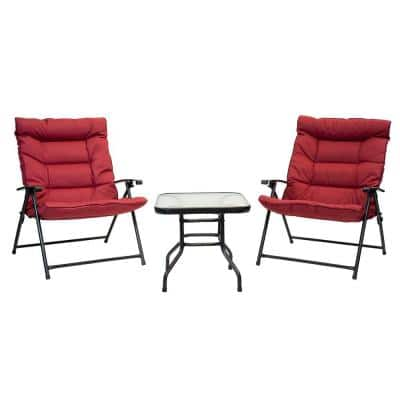 3-Piece Metal Outdoor Bistro Folding Set with Scarlet Cushions and Dark Powder Frame