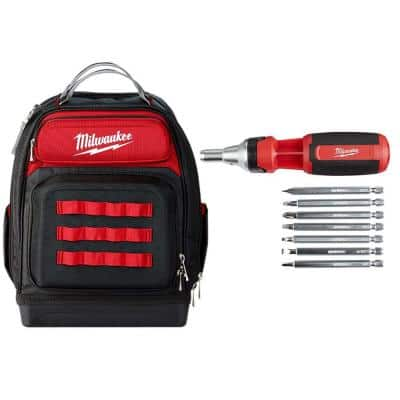 15 in. Ultimate Jobsite Backpack with 9-in-1 Square Drive Ratcheting Multi-Bit Screwdriver