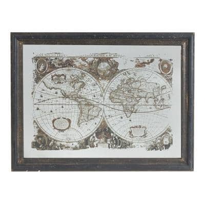 31 in. x 41.8 in. Distressed Black, White Mirrored Framed Wall Art