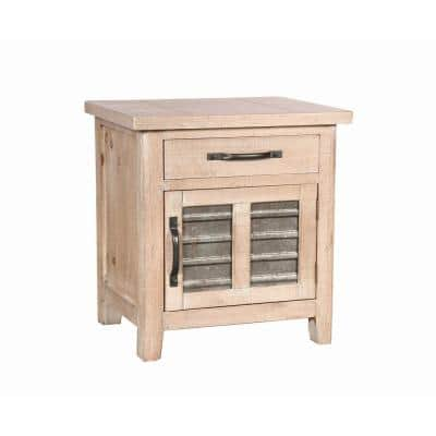 Farmhouse Small Brown Storage Accent Cabinet with Drawer and Metal Insert Door 19.69 in. L x 15.75 in. W x 23.62 in. H