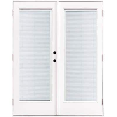 60 in. x 80 in. Fiberglass Smooth White Left-Hand Outswing Hinged Patio Door with Built in Blinds