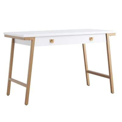 Empiria 48 in. W Wood White and Gold Mixed Metal Computer Desk with Drop Front Keyboard