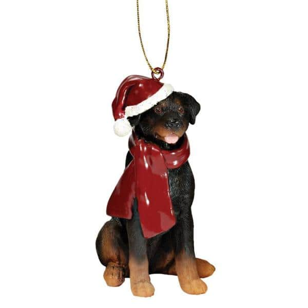 Design Toscano 3 5 In Rottweiler Holiday Dog Ornament Sculpture Jh576316 The Home Depot