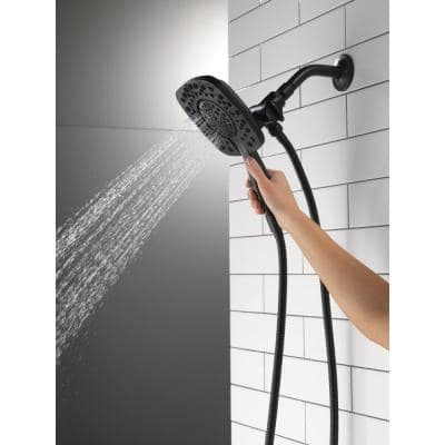 In2ition Two-in-One 4-Spray 6 in. Dual Wall Mount Fixed and Handheld Shower Head in Matte Black