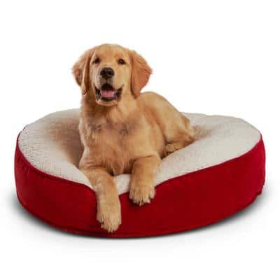 Scout Deluxe Round Small Crimson Sherpa Dog Bed