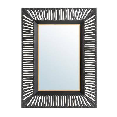 34.50 in. H x 26 in. W Oversized Modern Black and Gold Metal Wall Mirror