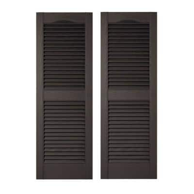 12 in. x 39 in. Louvered Vinyl Exterior Shutters Pair in Black