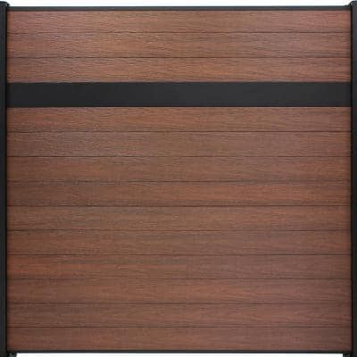 Euro Style 6 ft. H x 6 ft. W Estate Black Rose Aluminum/Composite Horizontal Fence Section