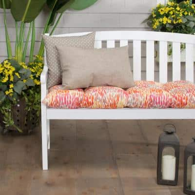 Peacock Feather 44 in. x 18.5 in. x 6 in. Outdoor Tufted Rectangular Loveseat Cushion in Orange
