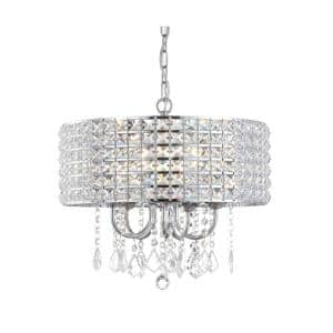 Reese 17 in. 5-Light Chrome LED Drop Pendant with Adjustable Metal/Crystal