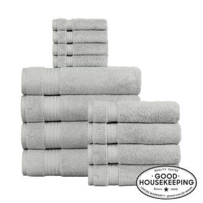 Egyptian Cotton 12-Piece Towel Set in Shadow Gray