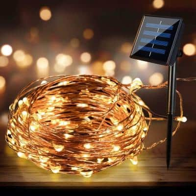 Outdoor 33 ft. Solar Mini Bulb 100 Integrated LED Copper Wire String Light with Warm Color