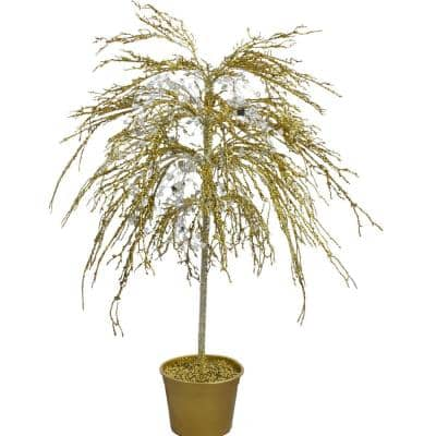46 in. Gold Crystallized Glitter Potted Holiday Tree - Mirrors and Beads