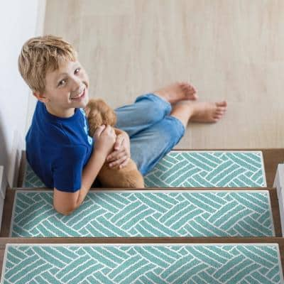 Sisal Teal 9 in. x 28 in. Cotton Carpet Stair Tread Cover (Set of 13)