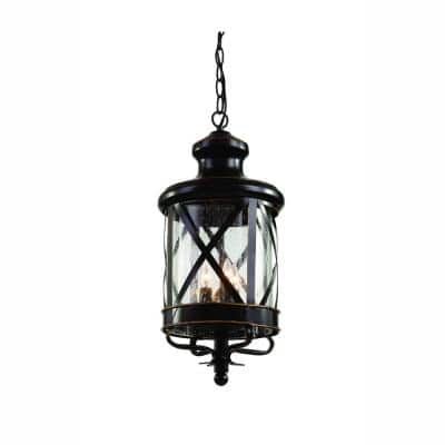 Chandler 4-Light Oiled Bronze Outdoor Pendant Light with Seeded Glass