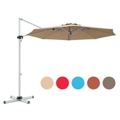 11 ft. Steel Cantilever 360° Rotation Aluminum Tilt Patio Umbrella in Beige