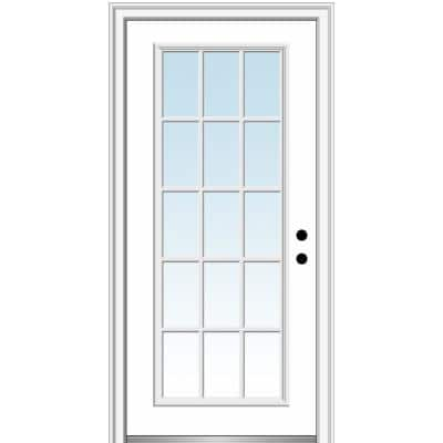 34 in. x 80 in. Classic Left-Hand Inswing 15-Lite Clear Glass Primed Steel Prehung Front Door on 4-9/16 in. Frame