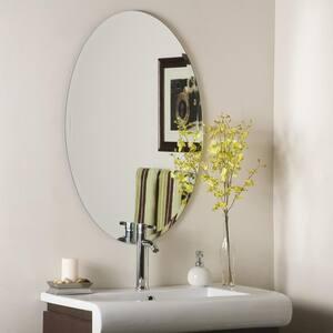24 in. W x 36 in. H Frameless Oval Beveled Edge Bathroom Vanity Mirror in Silver