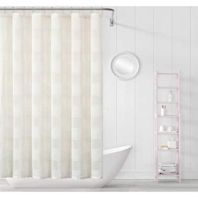 Megan 70 in. x 72 in. Linen Striped Shower Curtain