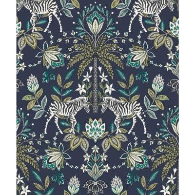Zebra Paisley Ornamental Wallpaper Navy Paper Strippable Roll (Covers 57 sq. ft.)