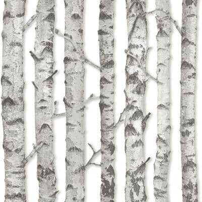 Merman Light Grey Birch Tree Paper Strippable Wallpaper (Covers 56.4 sq. ft.)
