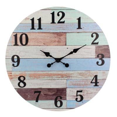 23.6 in. Worn Blue and White Coastal Wall Hanging Clock
